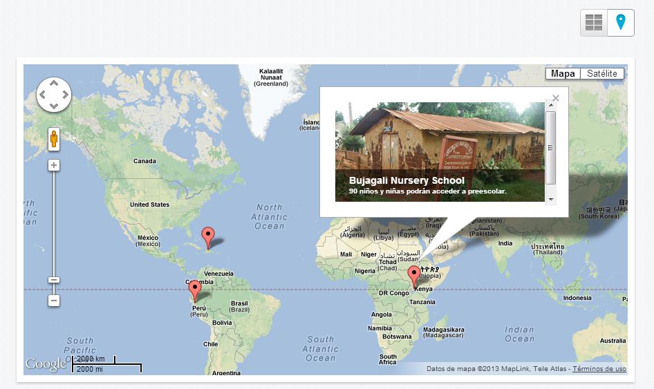 Mapa sección de proyectos